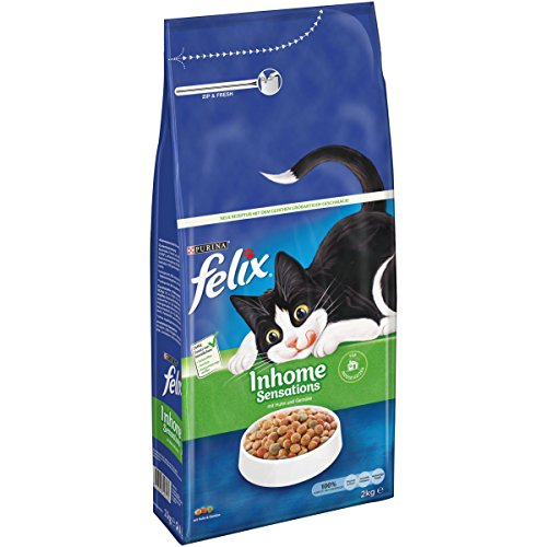 Felix Katzentrockenfutter Inhome Sensations (mit Huhn, Getreide und Zugabe von Gartengrün) 2kg Beutel