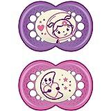 Ciuccio Mam Night Latex in silicone, in confezione da due pezzi, disponibile in colori assortiti