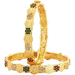 The Jewelbox Lakshmi Coin Ginni American Diamond Maroon Green Gold Plated Bangle Set of 2 (Pair) for Women