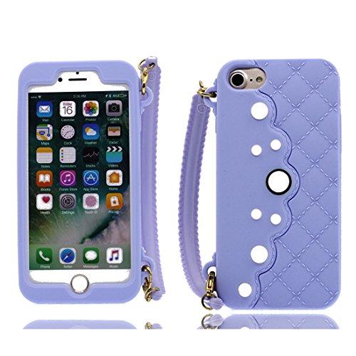 Nero 3D pesce ) iPhone 8 Custodia, iPhone 8 copertura 4.7 Survivor Protective case / Cartoon Morbido TPU Cover Shell Scivolamento di polvere / Protezione TPU Shell Skin porpora