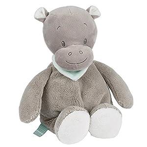 Nattou Peluche Hipopótamo Hipólito,  Loulou, Lea e Hipólito, Compañero desde el nacimiento, Altura: 34 cm, Gris