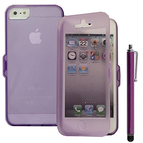 VComp-Shop® Silikon Handy Schutzhülle mit Klappe für Apple iPhone 5/ 5S/ SE + Großer Eingabestift - VIOLETT VIOLETT + Großer Eingabestift