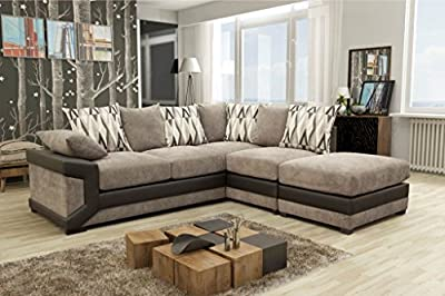 Louisiana Large Corner Sofa Suite Black/Grey by meble Roberto sp zoo