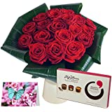 Clare Florist Love 20 Red Roses Fresh Flower Gift Set - Romantic Gift Bundle Featuring Flowers, Chocolates, a Handwritten Card and a Glass Vase