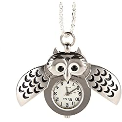 AWStech Vintage Lovely Cartoon Owl Open Wings Pendant Clock, Silver Steel Quartz Fob Pocket Watch Necklace, Clothing Dress Collocation, Best Welcome Gift for Lady Women Girl