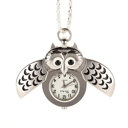 Owl watches amazon awstech vintage lovely cartoon owl open wings pendant clock silver steel quartz fob pocket watch necklace clothing dress collocation best welcome gift mozeypictures Images