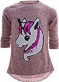 Einhorn Unicorn Pferd Mädchen Kinder Sweatshirt Pullover Wendepailletten Glitzer Bluse Langshirt Pulli (122-128, Einhorn 1 Rosa)