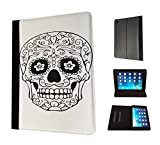 1815 - Cool Black And White Mexican Sugar Skull Black Eyes Tattoo Design Apple ipad Air 1 - 2013 Fashion Trend TPU Leather Flip Case Protective Purse Pouch Book Style Defender Stand Cover