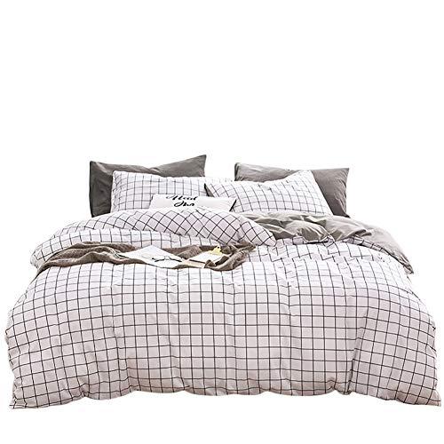 Luofanfei Baumwolle Bettwäsche Weiß Kariert King Size 220 x 240 cm 3 Teilig Bettbezug Uni Grau mit Reißverschluss und 4 Eckschleifen (King-size-bettwäsche-bettwäsche -)