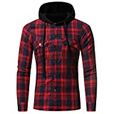Männer Plaid Hoodies,Moonuy Herren Herbst Winter Charme Schlank Langarm Plaid Kapuzen Shirt Persönlichkeit Patchwork Bluse Stilvolle Neue Stil pullover Mit Taschen (Rot, XL)