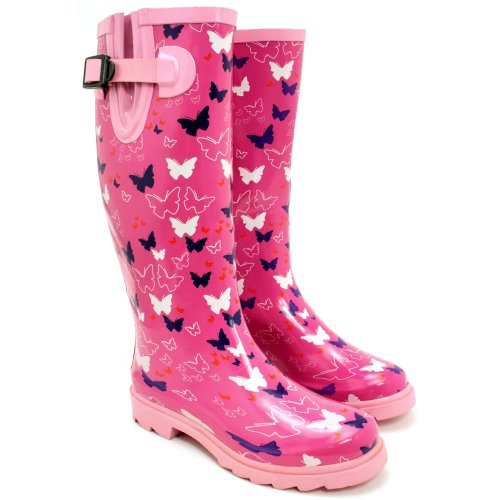 SPY LOVE BUY Karlie Flat Festival Wellies Wellington Knee High Rain Boots