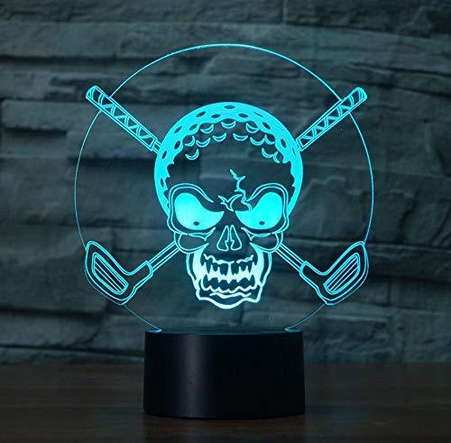 7 Farben Steigungen Ändern Beleuchtung Golf Ball Schädel Nachtlicht Kreative Wohnkultur 3D Led Schreibtisch Tischlampe Schlafzimmer Nacht Geschenke Touch Schalter