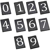 número de casa de pizarra natural sólido incluyendo fijaciones y gorras - Número 2