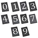 número de casa de pizarra natural sólido incluyendo fijaciones y gorras - Número 8