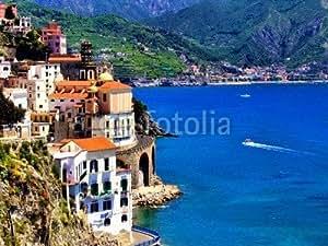 """Leinwand-Bild 80 x 60 cm: """"Beautiful village of Atrani along the Amalfi Coast, Italy"""", Bild auf Leinwand"""