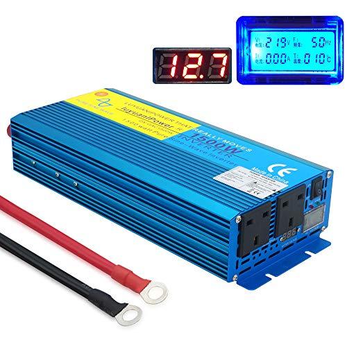 Yinleader Spannungswandler 1500W/3000W 12V 230V Reiner Sinus Wechselrichter LED+LCD Power Inverter mit 1 Steckdose und LCD-Display, für Auto, Wohnwagen, Boot, Camping, Reisen (UK-Steckdosen) 1500w Power Inverter