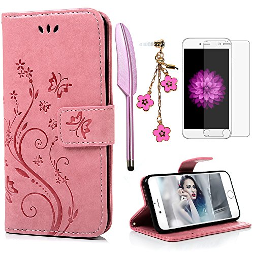 iPhone 6 / 6S Hülle (4,7 Zoll) Wallet Case Flip Hülle YOKIRIN Schmetterling Blumen Muster Schutzhülle PU Leder Brieftasche Ledertasche im Bookstyle für iPhone 6 6S Tasche Rosa