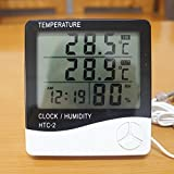 Abtrix HTC-2 Digital LCD Temperature Thermometer Humidity Meter Clock with sencer cable