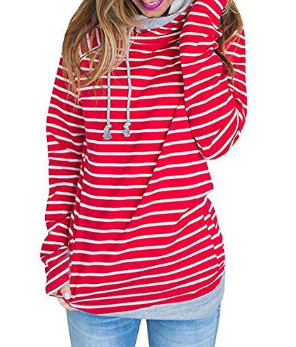 ASSKDAN Damen Gestreift Pulli Sweatshirts Hoodie Sport Langarm Reißverschluss Pullover Outerwear (EU 38/M, 1 Rot) (Reißverschluss-hoodies)