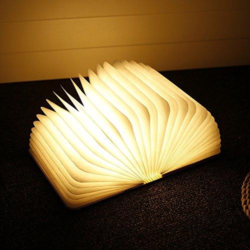 Mini Folding buch Lampe, iLifeSmart USB Aufladbare Hölzerne Faltende Buch Form Nachtlicht Stimmungs Beleuchtung Colleer LED Lampe, 12,1 cm * 9 cm * 2,5 cm Ideal für Buchlampe, Tischlampe und Nachttischlampe (1) (Hölzerne Lampe)