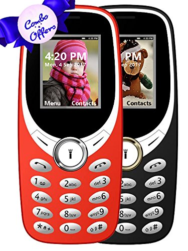 I KALL K31 Dual Sim 1.8 Inch Display COMBO OF TWO Basic Feature Mobile Phone With Bluetooth, GPRS, FM Radios, Flash Light And 1000 Mah Battery Capacity- Black & Red