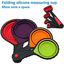 Delex® Portable Silicone Measuring Cups & Spoons, 4-Piece Set Folding, For Travel,Pet Supplies of outdoor,Long Trip,Camping,4 sizes