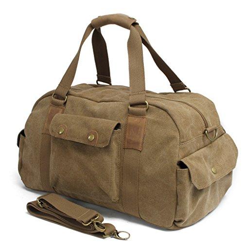 FAIRY COUPLE Unisex Canvas Handtasche für Reise Hochschule outdoor Sport Ausflug Camping Umhängetasche Schultertasche C3002,dunkel grau Kaffee