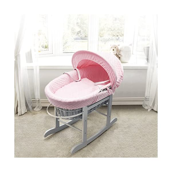 Pink Dimple Grey Wicker Padded Moses Basket & Deluxe Grey Rocking Stand Elegant Baby Suitable from newborn for up to 9kg, this Moses Basket uses Easy-care Poly Cotton with a soft padding surround Suitable from newborn to 9 months It also includes a comfortable mattress and an adjustable hood perfect to create a cosy sleeping space for your precious little one 1
