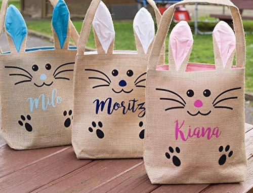 Ostertasche Jute Geschenk-Tasche Ostern groß mit Ohren Jutebeutel bedruckt Sammeltasche Hase Tasche Ostern Kinder personalisiert mit Namen Text