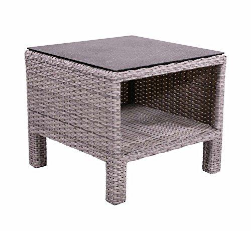 Beistelltisch aus Polyrattan Geflecht grau. Wetterfester Gartentisch, Spraystone-Tischplatte und Alu-Gestell, ideal für Garten, Balkon und Terrasse