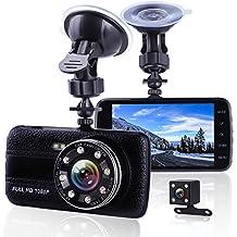 Dashcam Auto Nachtsicht, 4 zoll (10.2CM) Großer Bildschirm Auto Kamera Mit Front und Rück Dual Kamera, 1080P 170 Weitwinkelobjektiv Car DVR Recorder Auto, Dash cam mit Bewegungserkennung, Loop Aufnahme, Parküberwachung, G-Sensor, 24 Stunden Überwachung, Video Aufnahmemodus