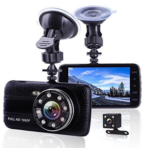 Caméra de voiture Dash Cam avant et arrière double caméra, vision nocturne de qualité supérieure HD 1080p Dashcam, 10,2cm IPS Grand écran Caméra de tableau de bord de voiture, enregistreur vidéo de voiture avec capteur G, enregistrement en boucle, détection de mouvement