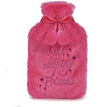Bottiglia di acqua calda di lusso con copertura in finta pelliccia extra morbida   Borsa termica in gomma naturale da 2 litri premium (rosa)