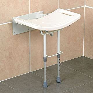 Homecraft Wall-Mounted Steel Shower Chair, Folding Shower Seat with Rubber Feet, Bath Stool for Bathing, Elderly, Disabled, and Limited Mobility, Shower Chair with Handles, 352 lbs Weight Capacity
