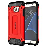 Cheetah Tough Rugged Shock Proof Dual Layer Hybrid Anti Scratch Bumper Back Cover for Samsung Galaxy S7 edge (Red)