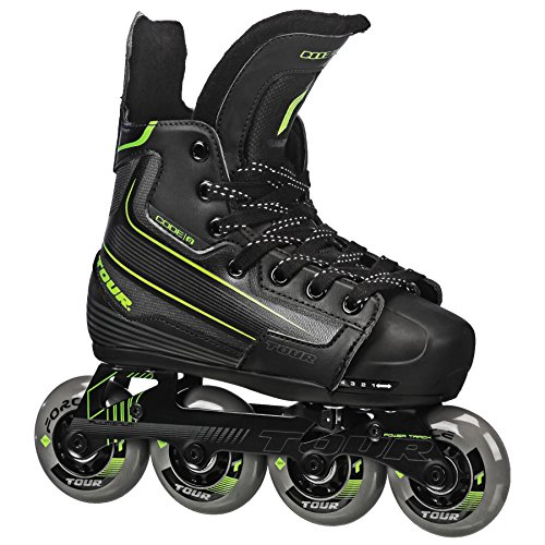 Tour Hockey Code-9 Youth Verstellbare Inline Hockey Skate, 39TY, Schwarz , Small (11J-1)