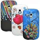 zkiosk 339 Design Auswahl 1 Schmetterlinge Blumen Sterne Herzen Silikon Schutzhülle für Samsung Galaxy S3 mini i8190 (3-er Pack) rot/blau/weiss/schwarz