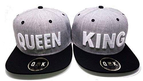 Partner Cap King & Queen, Beauty & Beast, Bonnie & Clyde (King/Queen, Grau/Schwarz)