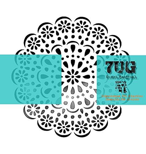 7UG Designer Schablone Rosette (13 x 13 cm) für Mixed Media Künstler -
