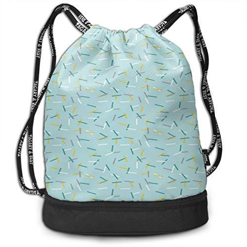 DPASIi Drawstring Backpacks Daypack Bags,Cool Line Art Vintage Color Scheme Traditional Geometric Elements Illustration,Adjustable String Closure -