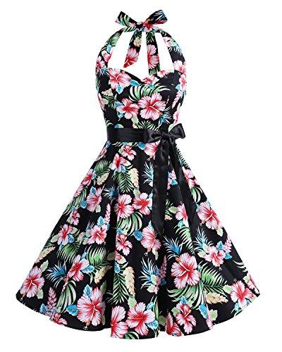 Bbonlinedress modèle 5 Vintage rétro 1950's Audrey Hepburn robe de soirée cocktail année 50 Rockabilly black flower