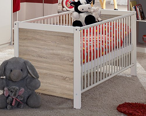 Wimex Babyzimmer Set Jalta, bestehend aus Babybett und Wickelkommode (Ohne Unterschrank), Liegefläche 70x140 cm, Weiß/ Absetzung Eiche Sägerau