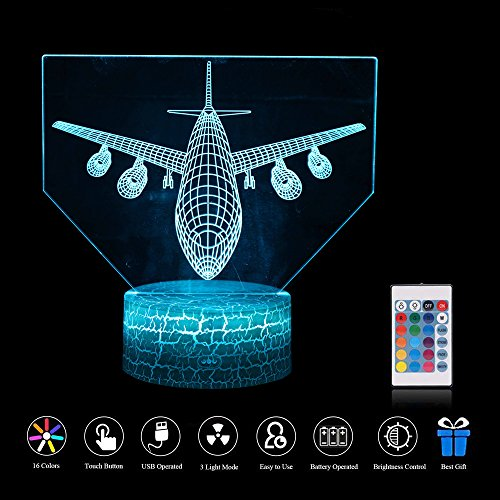 ZD Bright Nachtlicht 3D Optische Täuschung Fernbedienung Touch USB Riss Basis LED Tischlampe (Passagierflugzeug)