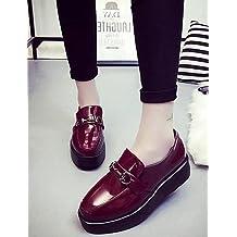 ZQ Zapatos de mujer-Tac¨®n Robusto-Tacones / Puntiagudos-Tacones-Vestido / Casual-Semicuero-Negro / Gris / Bermell¨®n / Almendra , burgundy-us6 / eu36 / uk4 / cn36 , burgundy-us6 / eu36 / uk4 / cn36