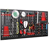 FIXKIT Wall Tool Rack with 17 Parts' Hook Set 120 x 60 x 2 cm, Tool Wall Perforated Wall for Workshop, Black and red