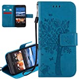 ISAKEN HTC M9 Case, New Solid Blue HTC M9 Case, ISAKEN PU Leather Cover with Strap for HTC M9 - Fashion Cat Tree Pattern Design Bookstyle Cell Phone Case Luxury Pu Leather Wallet Magnetic Design Mobile Cover Protect Skin Stand Case Pouch with Card Holder - Tree: blue