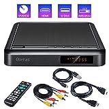 Gueray Tragbarer DVD Player mit Full HD-Upscaling und Externer Festplattenwiedergabe DVD-R / RW-CD-R / RW-USB-Anschluss, Fernbedienung, DivX, AV-Audiokabel für TV-Verbindung, HDMI-Anschluss