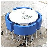 Tavoli E Sedie Rotondi Creativi Semplice E Moderno Ristorante Bar Cucina Soggiorno Area Relax Biblioteca 90 Cm Negozio Di Abbigliamento In Pelle PU Negozio Di Dolci Multicolore ( Color : Blue )