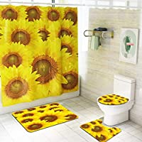 4 Piece Sunflower Shower Curtain Set with Non-Slip Rug, Toilet Lid Cover, Bath Mat and 12 Hooks, Waterproof Durable Shower Curtain Sets for Bathroom
