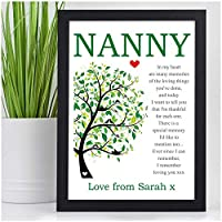NANNY Keepsake PERSONALISED POEM Mothers Day Gifts Nanna Nan Nana Gran Granny - PERSONALISED with ANY NAME and ANY RECIPIENT - Black or White Framed A5, A4, A3 Prints or 18mm Wooden Blocks